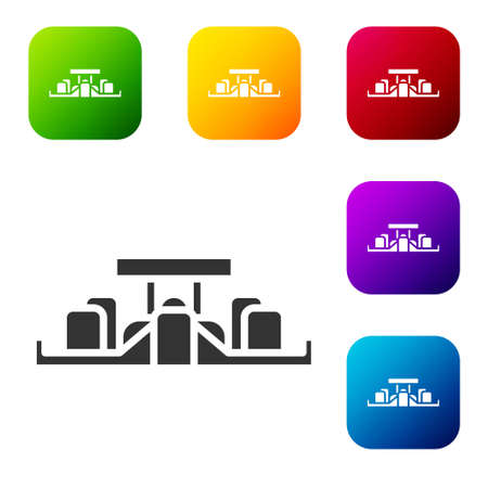 Black  racing car icon isolated on white background. Set icons in color square buttons. Vector
