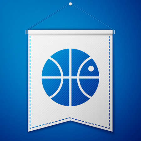 Blue Basketball ball icon isolated on blue background. Sport symbol. White pennant template. Vector Illustration