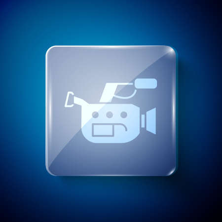 White Cinema camera icon isolated on blue background. Video camera. Movie sign. Film projector. Square glass panels. Vector Illustration