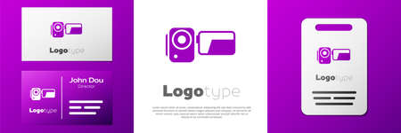 Logotype Cinema camera icon isolated on white background. Video camera. Movie sign. Film projector. Illustration