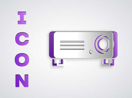 Paper cut Presentation, movie, film, media projector icon isolated on grey background. Paper art style. Vector Çizim