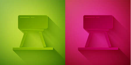 Paper cut Pommel horse icon isolated on green and pink background. Sports equipment for jumping and gymnastics. Paper art style. Vector Illustration