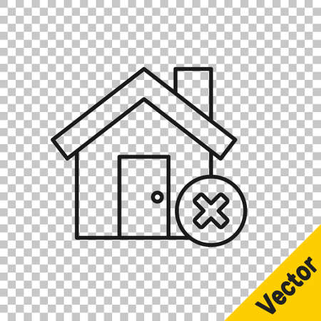 Black line House with wrong mark icon isolated on transparent background. Home and close, delete, remove symbol. Vector