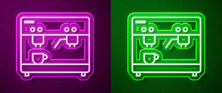 Glowing neon line Coffee machine icon isolated on purple and green background. Vector Ilustração