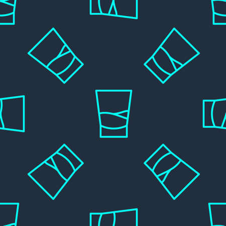 Green line Glass of vodka icon isolated seamless pattern on blue background. Vector 向量圖像