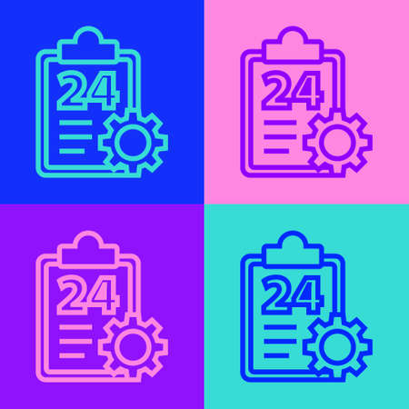 Pop art line Checklist clipboard with 24 hours service icon isolated on color background. Vector Illustration Ilustrace