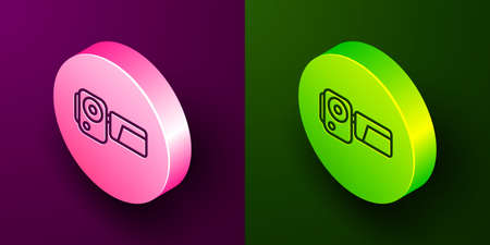 Isometric line Cinema camera icon isolated on purple and green background. Video camera. Movie sign. Film projector. Circle button. Vector