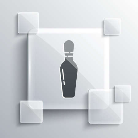 Grey Bowling pin icon isolated on grey background. Square glass panels. Vector Illustration