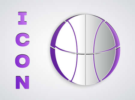 Paper cut Basketball ball icon isolated on grey background. Sport symbol. Paper art style. Vector Illustration