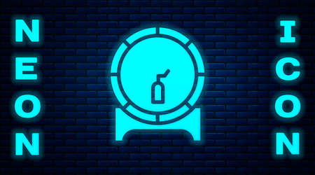 Glowing neon Wooden barrel on rack with stopcock icon isolated on brick wall background. Vector Illustration