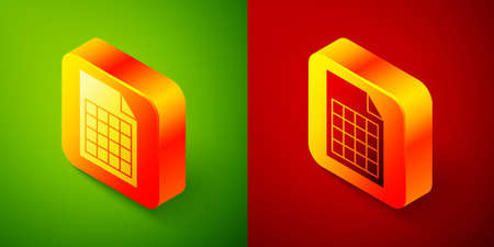 Isometric File document icon isolated on green and red background. Checklist icon. Business concept. Square button. Vector