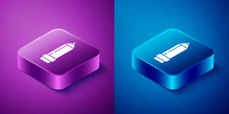 Isometric Pencil with eraser icon isolated on blue and purple background. Drawing and educational tools. School office symbol. Square button. Vector Illustration