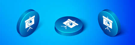 Isometric Presentation board with graph, schedule, chart, diagram, infographic, pie graph icon isolated on blue background. Blue circle button. Vector Çizim