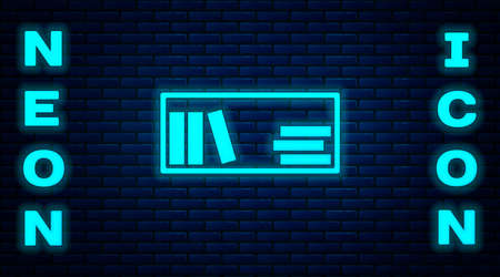Glowing neon Shelf with books icon isolated on brick wall background. Shelves sign. Vector