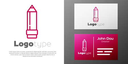 Logotype line Pencil with eraser icon isolated on white background. Drawing and educational tools. School office symbol.