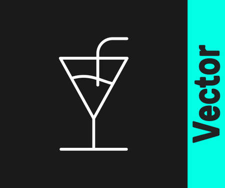 White line Cocktail icon isolated on black background. Vector