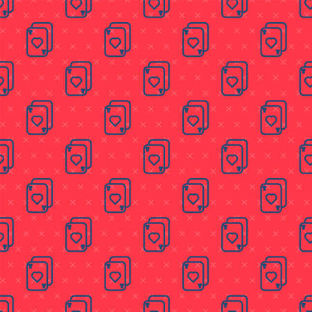 Blue line Playing cards icon isolated seamless pattern on red background. Casino gambling. Vector Illustration