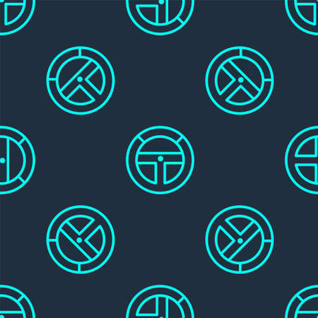 Green line Steering wheel icon isolated seamless pattern on blue background. Car wheel icon. Vector