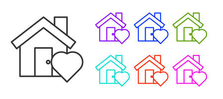 Black line House with heart shape icon isolated on white background. Love home symbol. Family, real estate and realty. Set icons colorful. Vector