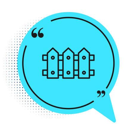Black line Garden fence wooden icon isolated on white background. Blue speech bubble symbol. Vector 版權商用圖片 - 147641920