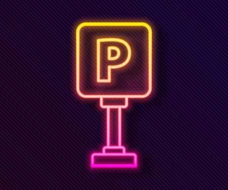 Glowing neon line Parking icon isolated on black background. Street road sign. Vector Illustration