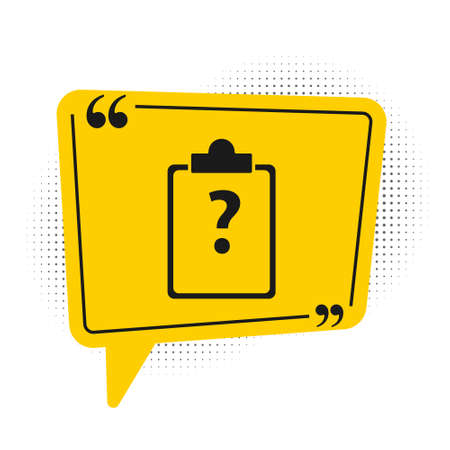 Black Clipboard with question marks icon isolated on white background. Survey, quiz, investigation, customer support questions concepts. Yellow speech bubble symbol. Vector Illustration