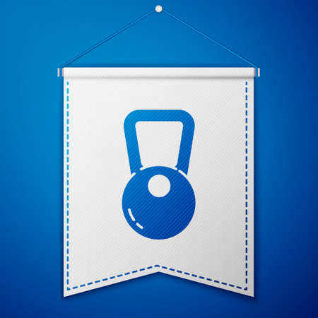 Blue Kettlebell icon isolated on blue background. Sport equipment. White pennant template. Vector Illustration