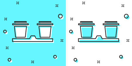 Black line Coffee cup to go icon isolated on green and white background. Random dynamic shapes. Vector Illustration