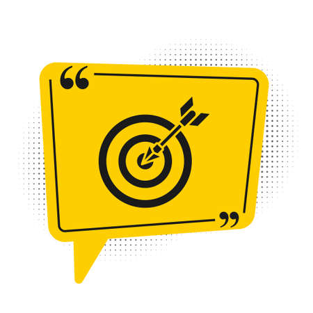 Black Target with arrow icon isolated on white background. Dart board sign. Archery board icon. Dartboard sign. Business goal concept. Yellow speech bubble symbol. Vector Illustration Illustration