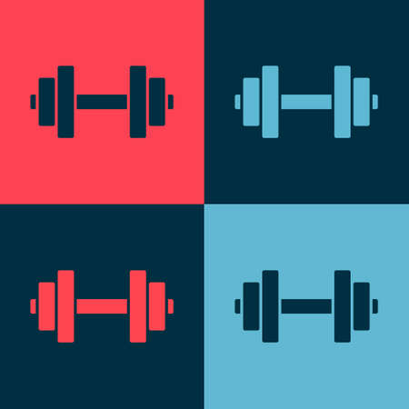 Pop art Dumbbell icon isolated on color background. Muscle lifting icon, fitness barbell, gym, sports equipment, exercise bumbbell. Vector Illustration