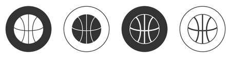 Black Basketball ball icon isolated on white background. Sport symbol. Circle button. Vector Illustration Illustration