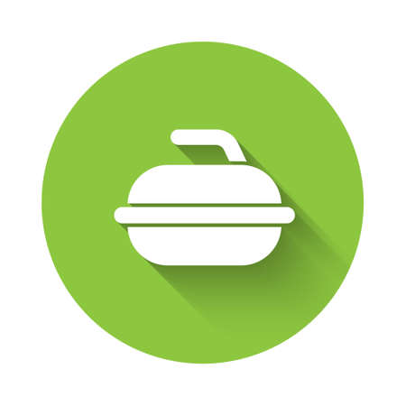 White Stone for curling sport game icon isolated with long shadow. Sport equipment. Green circle button. Vector Illustration