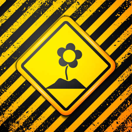Black Flower icon isolated on yellow background. Warning sign. Vector Illustration