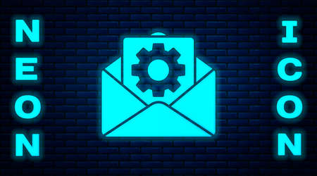 Glowing neon Envelope setting icon isolated on brick wall background. Vector Illustration