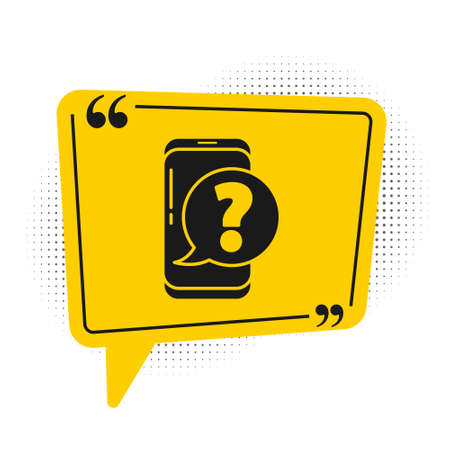 Black Mobile phone with question icon isolated on white background. Yellow speech bubble symbol. Vector Illustration Vectores