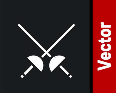 White Fencing icon isolated on black background. Sport equipment. Vector Illustration Çizim