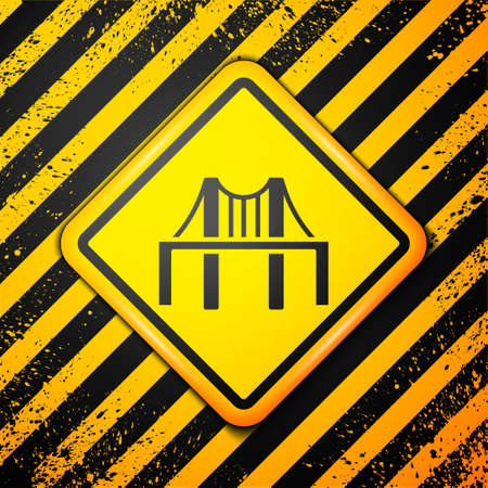 Black Golden gate bridge icon isolated on yellow background. San Francisco California United States of America. Warning sign. Vector Illustration
