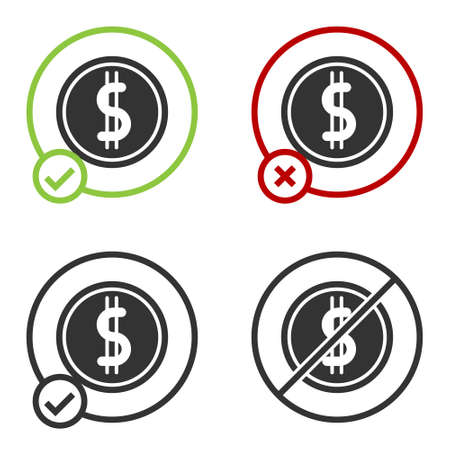 Black Coin money with dollar symbol icon isolated on white background. Banking currency sign. Cash symbol. Circle button. Vector Illustration
