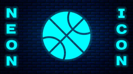 Glowing neon Basketball ball icon isolated on brick wall background. Sport symbol. Vector Illustration Illustration