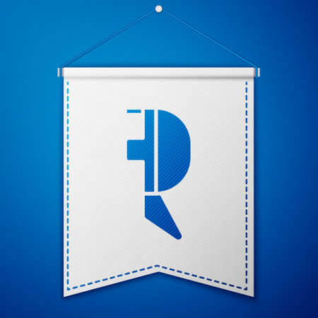 Blue Fencing helmet mask icon isolated on blue background. Traditional sport defense. White pennant template. Vector Illustration
