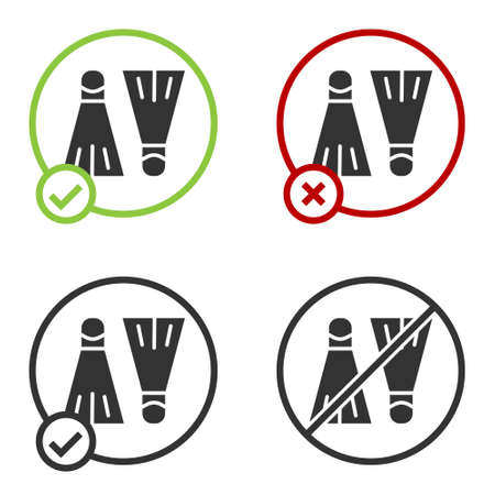 Black Rubber flippers for swimming icon isolated on white background. Diving equipment. Extreme sport. Sport equipment. Circle button. Vector Illustration 版權商用圖片 - 147743010
