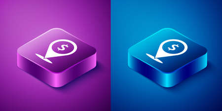 Isometric Cash location pin icon isolated on blue and purple background. Pointer and dollar symbol. Money location. Business and investment concept. Square button. Vector Illustration Ilustracja