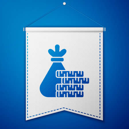 Blue Money bag and coin icon isolated on blue background. Dollar or USD symbol. Cash Banking currency sign. White pennant template. Vector Illustration