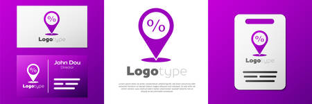Logotype Location with percent discount icon isolated on white background. Money location icon. Business and investment concept. Logo design template element. Vector Illustration