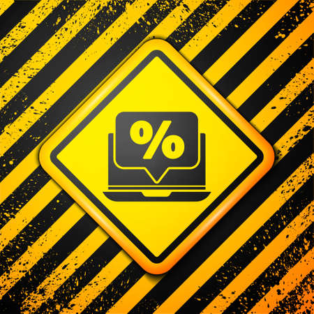 Black Percent discount and laptop icon isolated on yellow background. Sale percentage - price label, tag. Warning sign. Vector Illustration