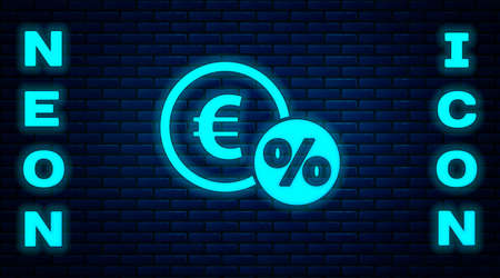Glowing neon Money coin with percent icon isolated on brick wall background. Cash Banking currency sign. Vector Illustration Ilustracja