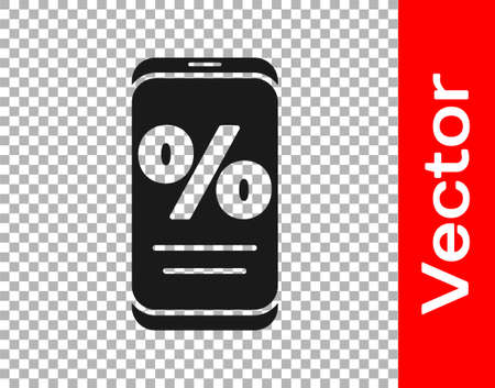 Black Percent discount and mobile phone icon isolated on transparent background. Sale percentage - price label, tag. Vector Illustration