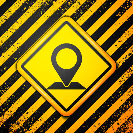 Black Map pin icon isolated on yellow background. Navigation, pointer, location, map, gps, direction, place, compass, search concept. Warning sign. Vector