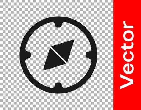 Black Compass icon isolated on transparent background. Windrose navigation symbol. Wind rose sign. Vector Illustration Ilustração