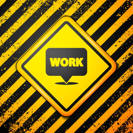 Black Location with text work icon isolated on yellow background. Warning sign. Vector Illustration Ilustracja